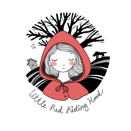 Une petite fille mignonne. Contes de fée à l'équitation rouge.