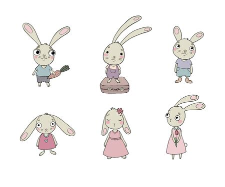 baby and mother: Set of cute cartoon bunny. Illustration