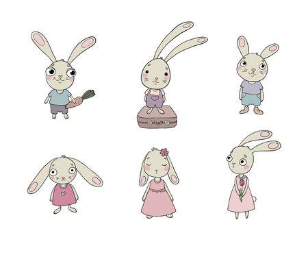 Set of cute cartoon bunny. Illustration