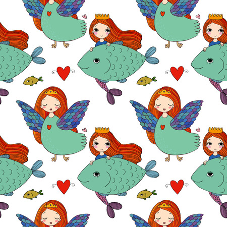 Pattern with girl Sirin and mermaid. Illustration