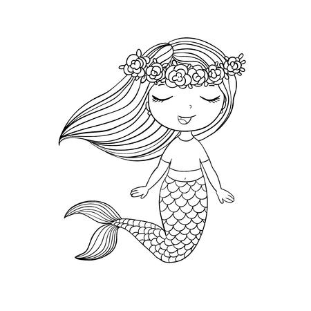Mooie kleine zeemeermin. Sirene. Zeethema. geïsoleerde objecten op witte achtergrond. Vector illustratie. Stock Illustratie