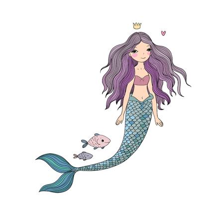 Cute cartoon mermaid and fish. Siren. Sea theme. isolated objects on white background. Vector illustration. Stockfoto
