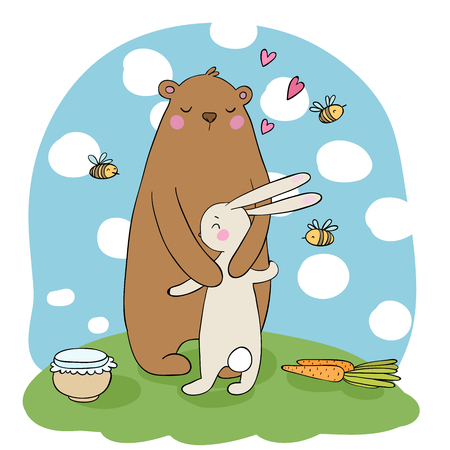 Lovely cartoon bear and hare. A pot of honey, carrots and bees. Happy animals. Isolated objects on white background. Vector illustration.