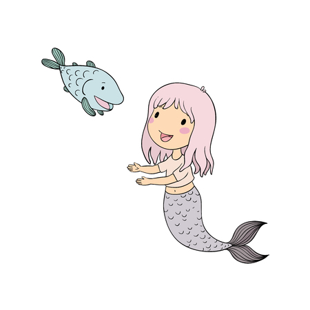 Cute cartoon mermaid and fish. Siren. Sea theme. isolated objects on white background. Vector illustration. Stock Photo