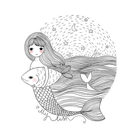 Cute sirène et poisson de dessin animé. Sirène. Thème de la mer. Objets isolés sur fond blanc.