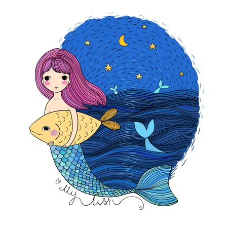 かわいい漫画人魚と魚。サイレン。海のテーマ。白い背景の上の孤立したオブジェクト。