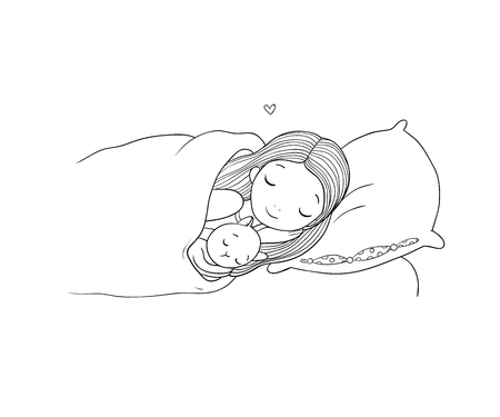 Nina Y Gato Durmiendo En La Cama Buenas Noches Ilustraciones