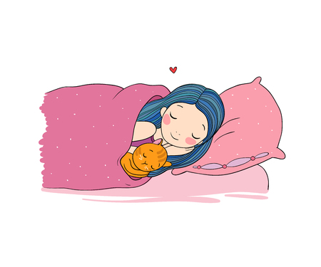 lying in bed: Sleeping girl and cat in bed. Good night. Illustration