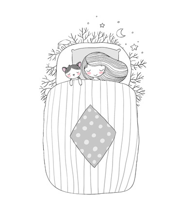lying in bed: A girl and a cat sleep in bed. Good night.