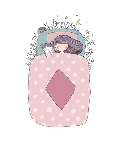 A girl and a cat sleep in bed. Good night.