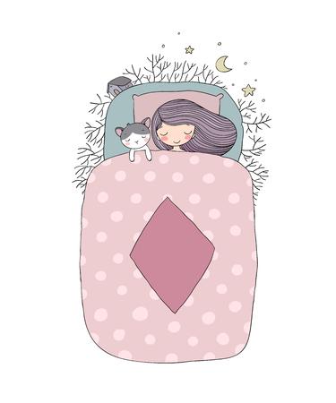 Una niña y un gato duermen en la cama. Buenas noches.