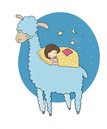 lying in bed: A sleeping girl and a cartoon lama.