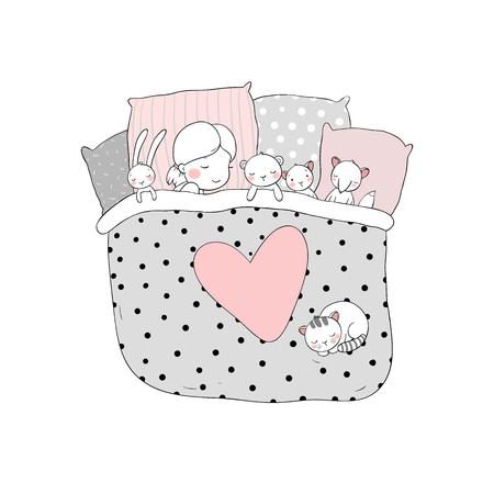 Het kind slaapt met haar speelgoed. zoete dromen. bedtijd. Goede nacht. Geïsoleerde objecten op witte achtergrond. Vector illustratie.