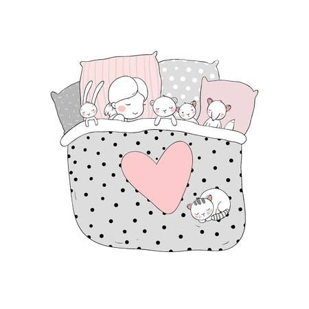 The child is sleeping with her toys. sweet dreams. bed time. Good night. Isolated objects on white background. Vector illustration. Illustration