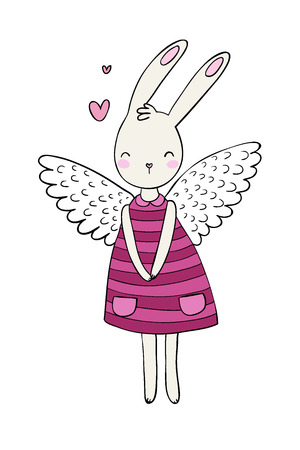 Pretty cartoon bunny girl in a dress. Rabbit with wings. Çizim
