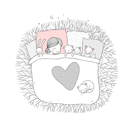 The child is sleeping with her toys. sweet dreams. bed time. Good night. Isolated objects on white background. Vector illustration. Stockfoto