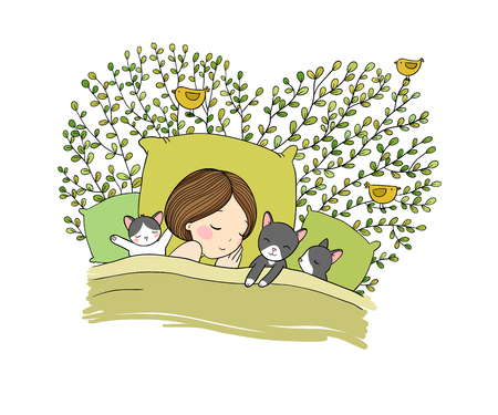 Sleeping girl and cat in bed. Good night. Vektorové ilustrace