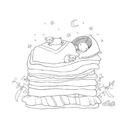 A little girl and cute pugs are sleeping on the bed. Illustration