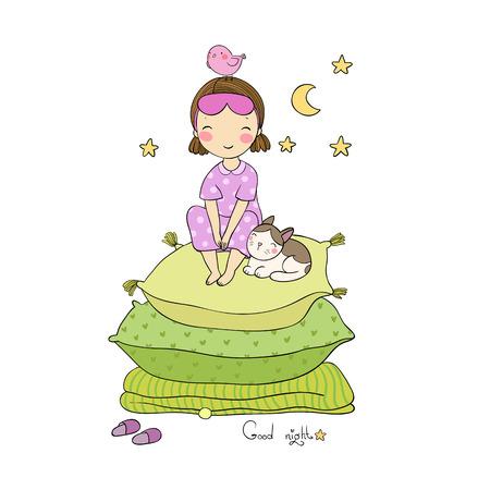Frau und Kätzchen Bild Illustration Vektorgrafik