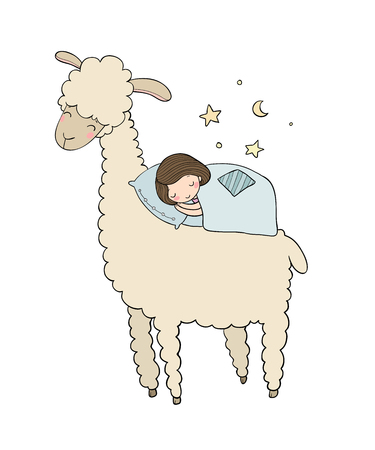 A sleeping girl and a cartoon lama. Good night.