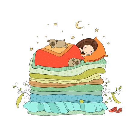 A little girl and cute pugs are sleeping on the bed. Ilustração