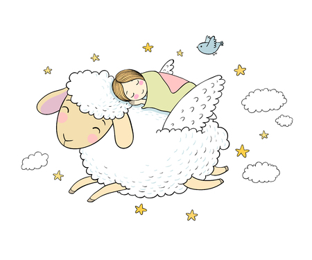 A sleeping girl and a sheep with wings. Good night.