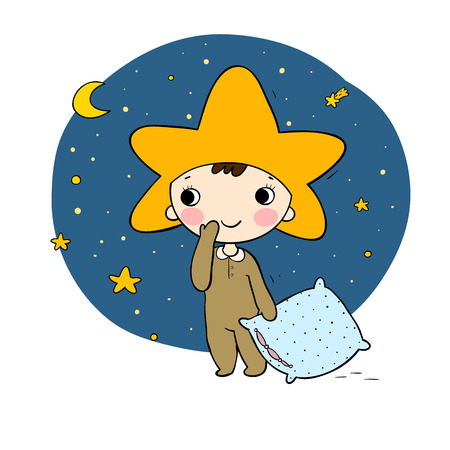 Boys gnome in the costumes star. Illustration