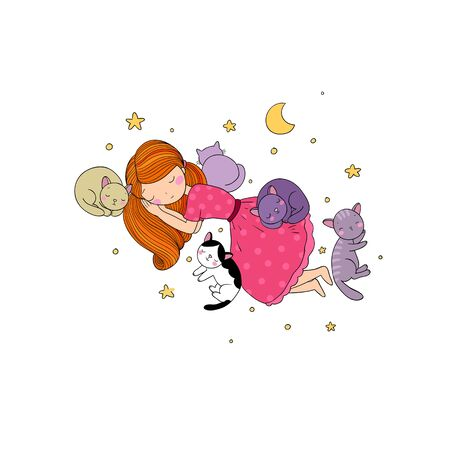 Sleeping girl and cat in bed. Good night. Illustration