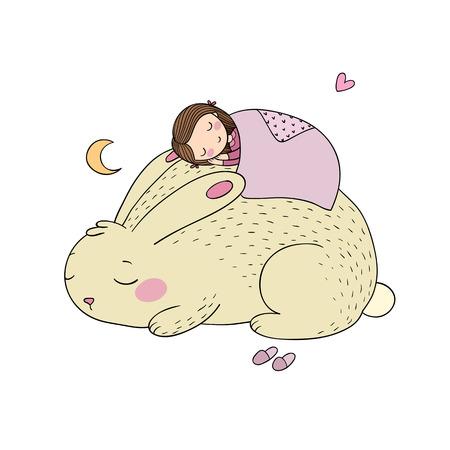 眠っている漫画の女の子とバニー。  イラスト・ベクター素材