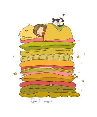 Girl and cats. Good night Sweet dreams Vector illustration.