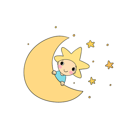 The boy is the star and the moon. Illustration