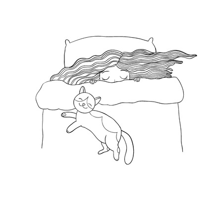 Girl and cats. Good night. Sweet dreams. Vector illustration.