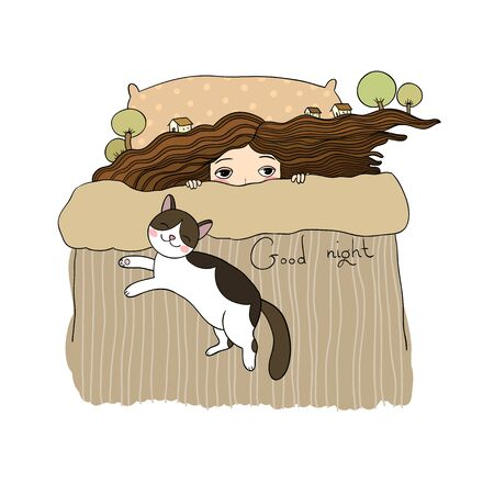 Girl and cats. Good night. Sweet dreams. Vector illustration. bed time. Isolated objects on white background. bed linen. Illustration for pajamas