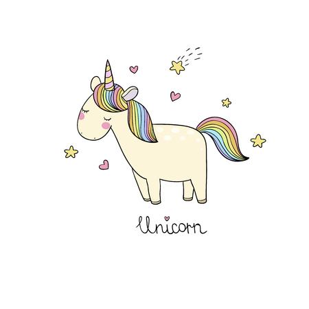 Cute cartoon unicorn. Çizim