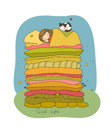 A little girl and cute cat are sleeping on the bed. Good night. Sweet dreams. Vector illustration.