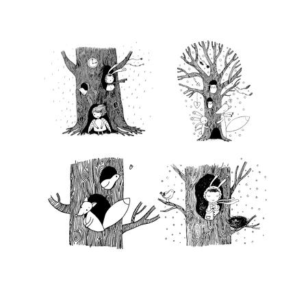 set with magic trees. Illustration