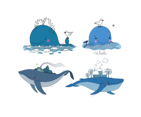 A large set with whales. Stock Photo