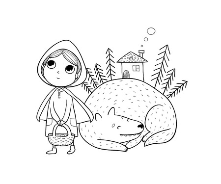 Little Red Riding Hood fairy tale. Little cute girl and wolf. Hand drawing isolated objects on white background. Vector illustration. Vettoriali