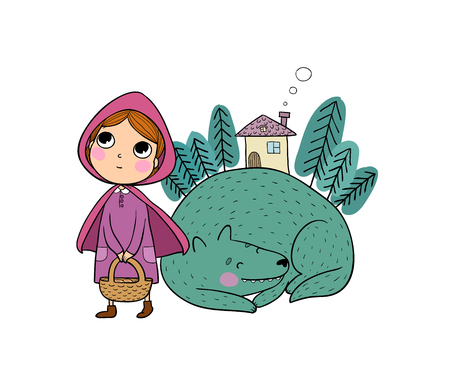 Little Red Riding Hood fairy tale. Little cute girl and wolf. Hand drawing isolated objects on white background. Vector illustration. Illustration