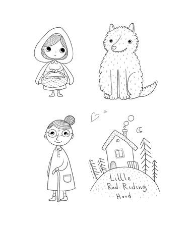 Bajka Czerwonego Kapturka. Mała śliczna dziewczyna, wilk, babcia i dom. Rysunek odręczny pojedyncze obiekty na białym tle. Ilustracji wektorowych.