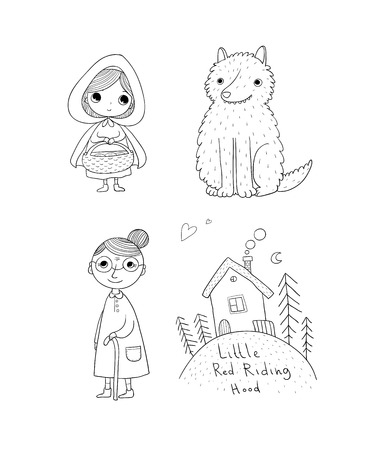 Little Red Riding Hood fairy tale. Little cute girl, wolf, grandmother and house. Hand drawing isolated objects on white background. Vector illustration. Vettoriali