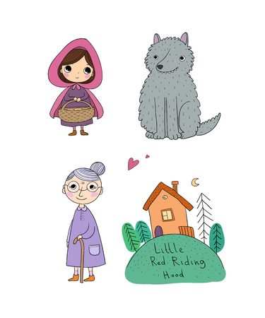 Bajka o Czerwonym Kapturku. Małe słodkie dziewczyny, wilk, babcia i dom. Rysunek na białym tle obiektów na białym tle. Ilustracja wektorowa.