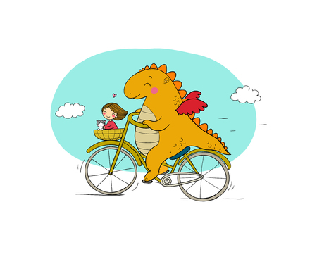 A funny cartoon dinosaur on a bicycle. Cute dragon traveler, girl and cat. Vector illustration. Stock fotó - 114726050