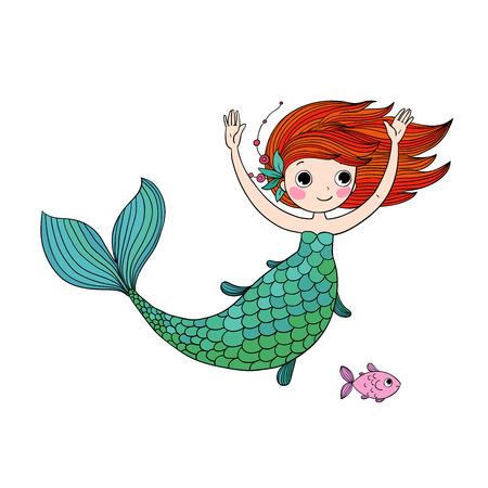 Niedliche kleine Meerjungfrau des Karikaturzeichens. Sirene. Meeresthema.