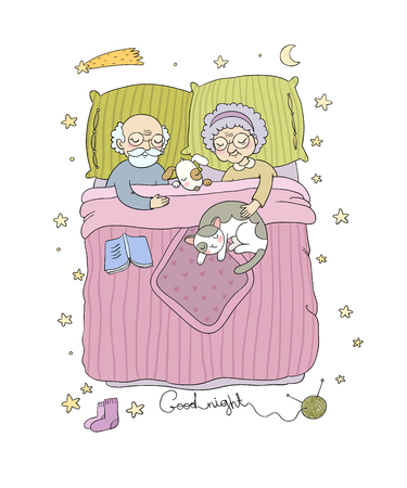 El abuelo y la abuela duermen en la cama. Personajes de los Ancianos. Jubilados encantadores. Buenas noches concepto Sweet Dreams. Ilustración de vector de cama.