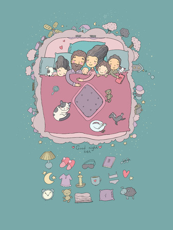 The family sleeps in bed. Cartoon mom, dad and babies. Sweet Dreams. Good night. Bed linen. Funny pets. Illustration for pajamas. Happy children. Archivio Fotografico - 111589460