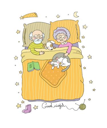 El abuelo y la abuela duermen en la cama. Personajes de los Ancianos. Jubilados encantadores. Buenas noches concepto Sweet Dreams. Ilustración de vector de cama. Ilustración de vector