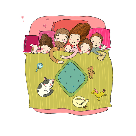 The family sleeps in bed. Cartoon mom, dad and babies. Sweet Dreams. Good night. Bed linen. Funny pets. Illustration for pajamas. Happy children. Archivio Fotografico - 111589462