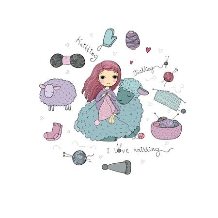 Knitting girl and a cute cartoon sheep. Handmade things. Vector illustration.