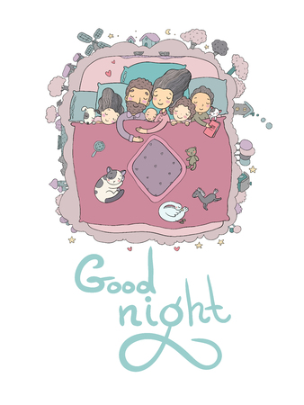 The family sleeps in bed. Cartoon mom, dad and babies. Sweet Dreams. Good night. Bed linen. Funny pets. Illustration for pajamas. Happy children. Illustration